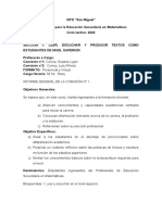 INFORME CURSILLO DE INGRESO
