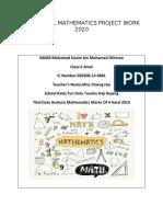 Additional Mathematics Project Work 2020