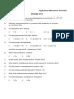 Calculus - Kinematics Applications - Problem Sets