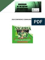 Communique for Nigeria @ 50 GOTNI Leadership Conference