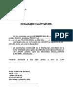 Declaratie de Inactivitate
