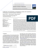 Certification and integration of management systems the experience of Portuguese small and medium enterprises