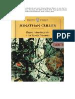 Breve Introducción a La Teoría Literaria. J. Culler (Transcripción)