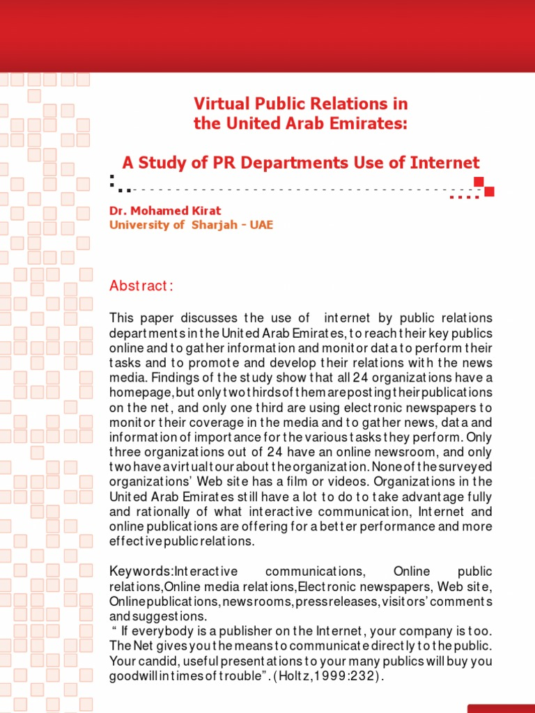 Virtual Public Relations In The United Arab Emirates A Study Of