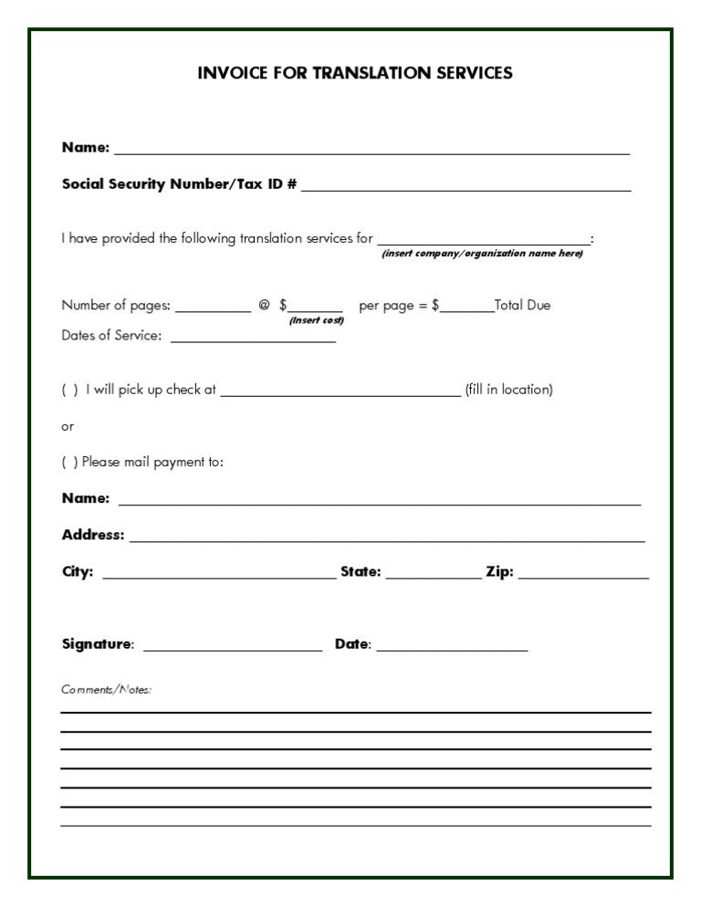 sample invoice for translation, Invoice templates