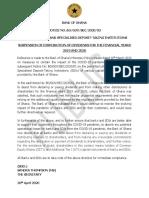 BoG Notice Suspension of Dividend Distributions