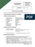 Ficha seguridad Cal hidratada