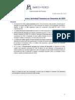 Agregados monetarios y actividad financiera en diciembre de 2019