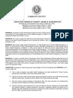 Tarrant County Executive Order (Executed 4-21-20)