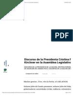 Discurso de la Presidenta Cristina Fernández de Kirchner en la Asamblea Legislativa