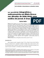 ARTIGO DISCURSO INTEGRALISTA E JORNAL A CRUZ - MATO GROSSO.pdf