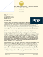 Commissioner Fried Letter to USDA on Chinese Citrus Imports