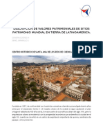 DESCRIPCION DE VALORES PATRIMONIALES DE SITIOS PATRIMONIO MUNDIAL EN TIERRA DE LATINOAMERICA