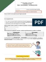 Guía de trabajo Comunicacion pronombres y determinantes