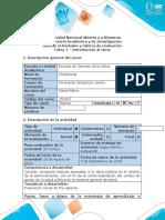 Guía de actividades y rúbrica de evaluación - Tarea 1 - Introducción al tema