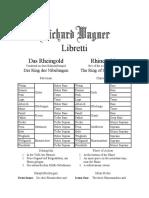 Libretto Das Rheingold / Rhinegold