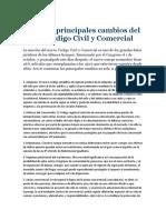 Los once principales cambios del nuevo Código Civil y Comercial