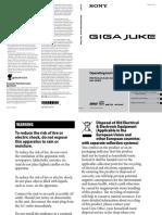 Sony Micro Hi Fi System With Giga Juke Hard Drive NAS 50HDE User Manual