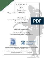 Facultad de Silencio (6ª Edición). Esther Ramón (Poeta). F. Gómez Redondo, J. Helgueta Manso y A. Rodríguez Callealta (Organizadores)