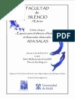 Facultad de Silencio (7ª Edición). Ada Salas (Poeta). F. Gómez Redondo, J. Helgueta Manso y A. Rodríguez Callealta (Organizadores)