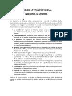 CODIGO DE LA ETICA PROFESIONAL - INGENIERIA EN SISTEMAS