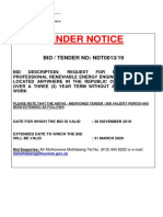 Tender Notice - Renewable Engineering Services - NDT0013-19