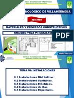 TEMA VI Materiales y Procesos Constructivos Resumen Examen Instalaciones Enero Junio 2018