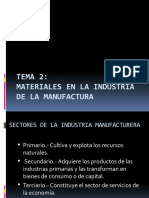 MATERIALES EN LA INDUSTRIA DE LA MANUFACTURA