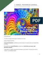 LEY DE VIBRACIÓN - ENERGÍA - PROSPERIDAD UNIVERSAL