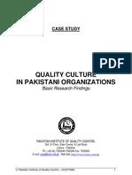 Quality Culture in Pakistani Organizations