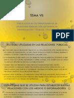 TEMA VII VINCULACION DE LOS DEPARTAMENTOS DE RELACIONES PÚBLICAS CON LOS MEDIOS DE COMUNICACIÓN Y TECNICAS  UTLIZADAS PDF