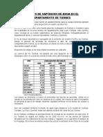 LUGARES DE CAPTACION DE AGUA EN EL DEPARTAMENTO DE TUMBES