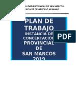 PLAN DE TRABAJO INSTANCIA DE CONCERTACION SAN MARCOS 2018
