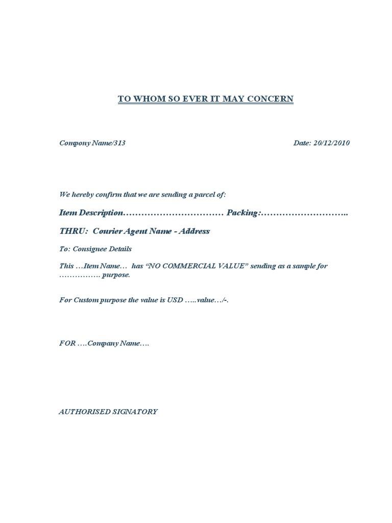 Sample Letter For Courier Sending