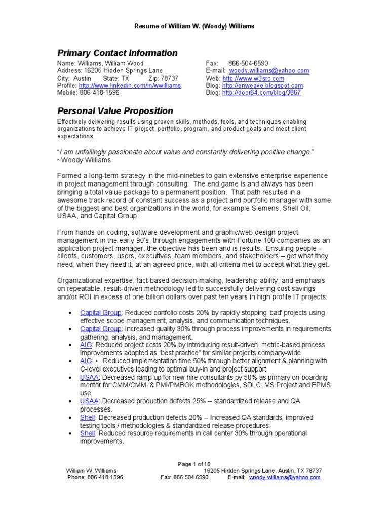 Williams William-w Resume Current | Software Development Process ...