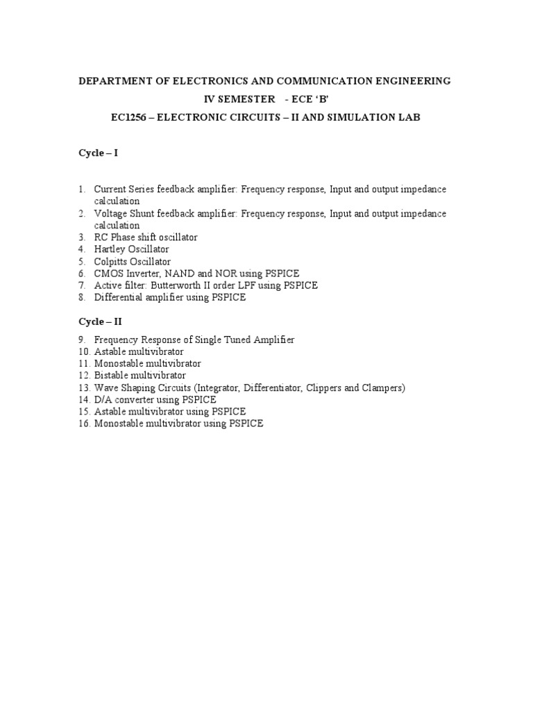 Ec Ii Lab Manual 1 Amplifier Electronic Oscillator Inverter Circuit Simulator