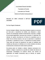 Resumo Gadamer - Verdade e Metodo