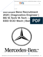 Mercedes Benz Recruitment 2020 _ Diagnostics Engineer _ BE_ B.Tech_ M.Tech – Auto_ EEE_ ECE_ Mech _ Bangalore » JobsTron.com