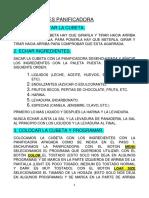 INSTRUCCIONES PANIFICADORA