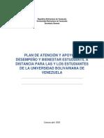 PLAN DE ATENCION Y APOYO AL DESEMPEÑO Y BIENESTAR ESTUDIANTIL UBV