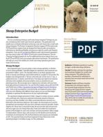 Small-Scale Livestock Enterprises. Sheep Enterprise Budget