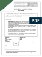 RECIBO DEL REGLAMENTO INTERNO DE SEGURIDAD ORDEN E HIGIENE INDUSTRIAL 2018