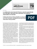 La colaboración entre Atención Primaria y atención especializada en el abordaje y derivación de los pacientes con problemas relacionados con el alcohol