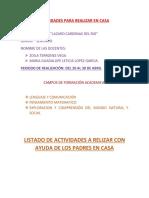 PLAN DE TRABAJO COMPLEMENTARIO 2° A Y B