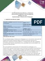 Syllabus del Curso Epistemología e Historia de la Pedagogía
