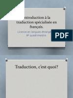 Introduction a la traduction spécialisée en français