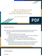 The Effects of Cotton Gin and Interchangeable Parts on American Society and Economy