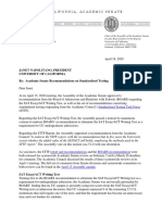 Academic Senate Letter to Pres. Napolitano