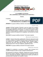 REFORMA PARCIAL DEL REGLAMENTO INTERIOR Y DE DEBATES DE LA ASAMBLEA NACIONAL
