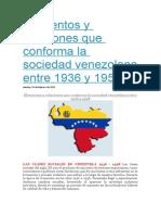 Elementos y relaciones que conforma la sociedad venezolana entre 1936 y 1958